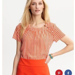 Banana Republic Striped silk side-button blouse